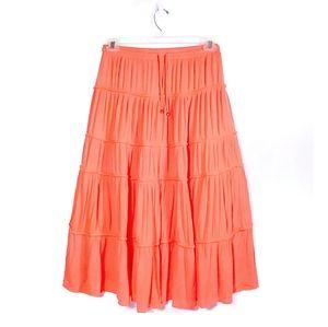 Anthro Bow + Arrow - orange tiered maxi-skirt